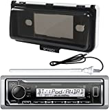 New Kenwood Marine Boat Yacht Outdoor In Dash Bluetooth MP3 USB AM/FM Radio Stereo Player With Splashproof Radio Cover + Marine Radio Antenna - Complete Marine Radio Kit - (Mechless Receiver)