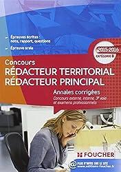 Annales corrigés Rédacteur Territorial / Rédacteur Principal Catégorie B - 2015 - 2016