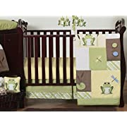 Sweet Jojo Designs 11-Piece Yellow and Green Leap Frog Baby Boy Girl unisex Bedding Crib Set Without Bumper
