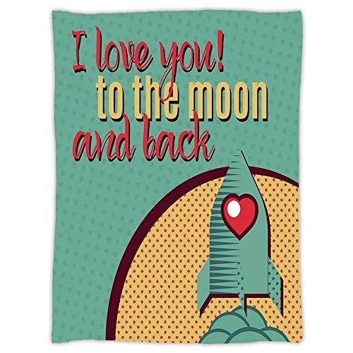 Yaoni Super Soft Throw Blanket Custom Cozy Thickened Blanket,I Love You,Rocket Flying to The Space with Love Fuel Cosmic Journey Illustration Decorative,Turquoise Red Mustard,Suitable for Sofas,beds ()