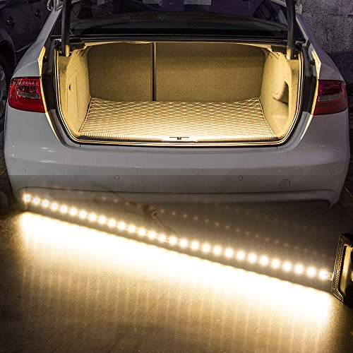 Rayhoo 30-SMD-5050 LED Strip Light For Car Trunk Cargo Area or Interior Illumination, Warm White, LED Trunk Lights for audi nissan mazda honda lexus volkswagen infiniti