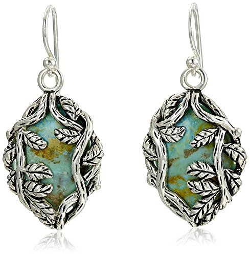 Barse Twisting Vines Sterling Silver and Genuine Turquoise French Wire Drop Earrings
