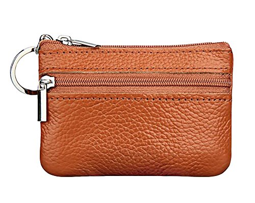 ETIAL Womens Genuine Leather Zip Mini Coin Purse w/Key Ring (Brown) ()