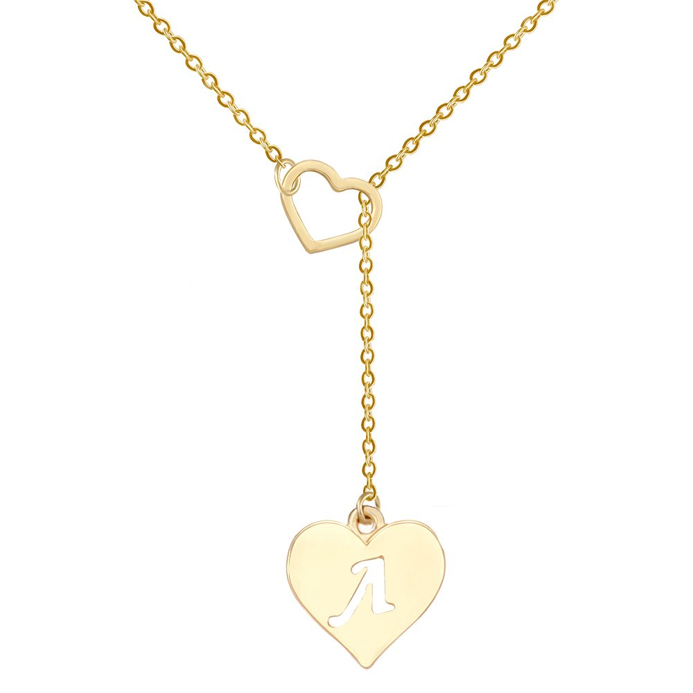 SENFAI Heart Shaped Y Necklace with 26 Initial Alphabet Letters for Women 18 + 2 inches