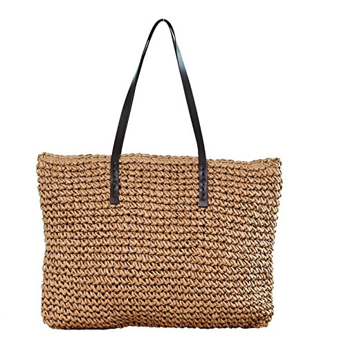 Tote SS0294 Beach Bags Hobos Women Rattan Bags Shoulder Durable Female HandCasual Kimiyar Weave Bucket Straw Beige 1zfq6wxC