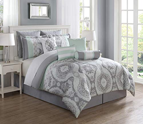 (S.L. Home Fashion 10 Piece Bianca Mint/Gray Comforter Set Queen)