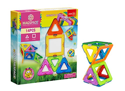 MAGSPACE Magnetic Building Set (14 Pieces) - Magnetic Magic Power - Best Educational Magnetic Building Blocks for Kids - Magnet Construction STEM Toy Set - Best Present for Boys and Girls (Red)