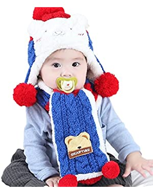 Cute Bear Winter Warm Hat with Earflap Scarf Set for Baby Boys Girls 6-12 Months Knitted Faux Fur Pom Pom Toddler…