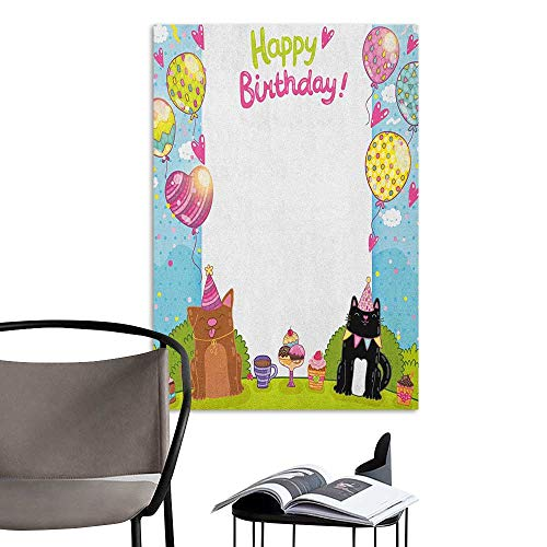 Wall Stickers Kids Birthday Party Black and Brown Cats Cakes Balloons Heart Traditional Polka Dots Art Multicolor Lady Room Wall W16 x -