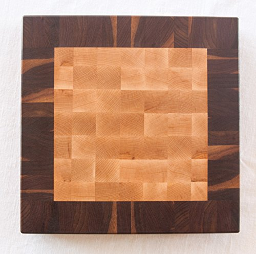 Chopping Blox Square end grain chopping block in maple and walnut. SIXB-M