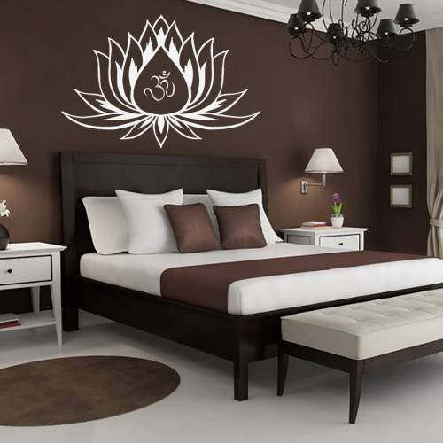 Hausewares-Vinyl-Decal-Lotus-Flower-With-Om-Sign-Yoga-Meditation-Wall-Art-Decor-Removable-Stylish-Sticker-Mural-Unique-Design-for-Room