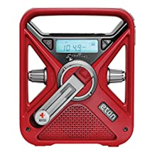 Canadian Red Cross FRX3 Hand Turbine NOAA AM/FM Weather Alert Radio with Smartphone Charger, CRCFRX3WXR (Red)