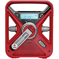 Eton ARCFRX3WXR American Red Cross Hand Turbine NOAA AM/FM Weather Alert Radio with Smartphone Charger (Red)