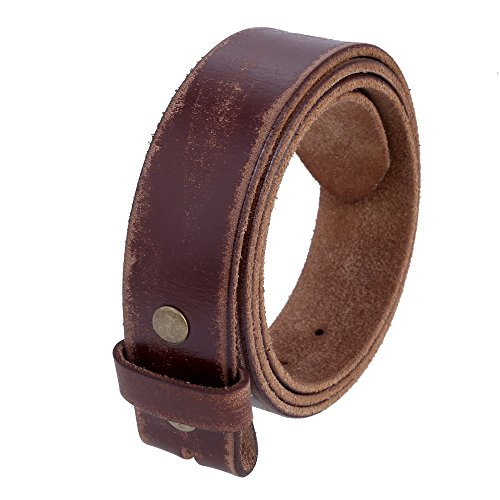 Leather Belt Buckle (Gelante Genuine Full Grain Leather Belt Strap without Belt Buckle G2016-DistressBRN-M)