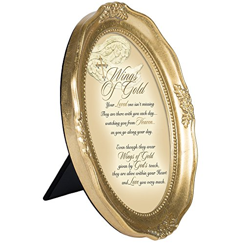 Wings Of Gold Within Your Heart 6 x 8 Gold Tone Finish Oval Shaped Picture - Frames Oval Shaped