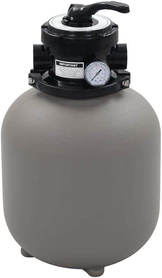 vidaXL Filtre /à Sable pour Piscine avec Vanne 4 Positions Pompe de Filtration Pompe de Filtration Syst/ème de Filtration Eau Bassin Gris 350 mm