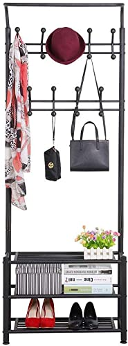 Multipurpose Metal Entryway Coat Rack 18 Hooks 3-Tier Shoe Rack Hall Tree Black Renewed