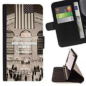 GIFT CHOICE / Billetera de cuero Estuche protector Cáscara Funda Caja de la carpeta Cubierta Caso / Wallet Case for Samsung Galaxy S4 Mini i9190 // Grand Central Station Meaning of Life Word Art //