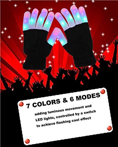 UPBASICN LED Gloves Light Up Rave Glow Gloves 3 Colors 6 Modes Flashing Finger Light Flashing LED Gloves Halloween Costume Clubbing Birthday Party Christmas Novelty Light Up Toys