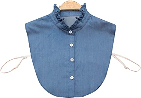 JERKKY Camisa de Las Mujeres Falso Collar Denim Tie Moda Desmontable Collar Falso Cuello de Solapa Blusa Ajustar Accesorios de Ropa: Amazon.es: Hogar