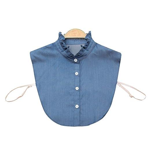 Gjyia Camisa de la Mujer Collar Falso Corbata Denim Moda Collar ...