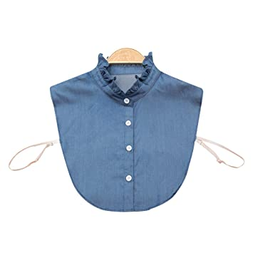 Erisl - Camisa para Mujer, Cuello Falso, Corbata de Mezclilla ...