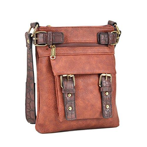 (Dasein Top Belted Crossbody Bags for Women Soft Leather Messenger Bag Shoulder Bag Travel Purse)