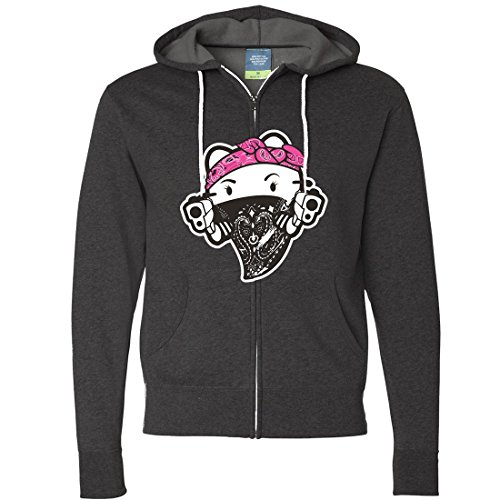 Hello Kitty Gangster Thug Zip-Up Hoodie - Charcoal Heather Small (Hello Kitty Gangster)