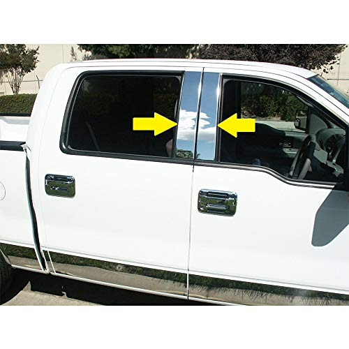 Sizver Polished Stainless Steel Pillar Posts Accent Covers for 2004-2014 F-150 ^Super/SuperCrew Cab^