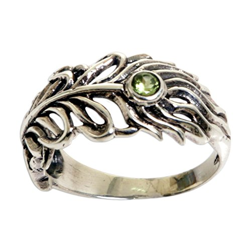 NOVICA Peridot .925 Sterling Silver Feather Shaped Band Ring, Feather Light