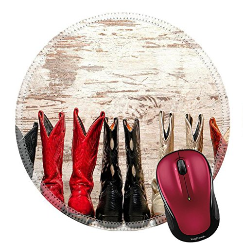 Liili Round Mouse Pad Natural Rubber Mousepad IMAGE ID: 21429862 American West Legend cowgirl leather boots rear heel view in straight western line over old wood planks at a country dance hall Rear Heel