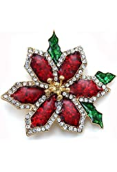 Beautiful Christmas Red Poinsettia Flower Brooch Pin Christmas Gift