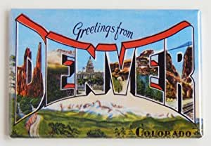 Greetings From Denver Colorado Fridge Magnet (2 x 3 inches)