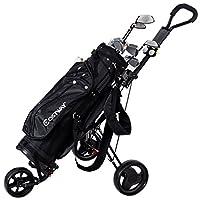TANGKULA Foldable Golf Cart Lightweight 3 Wheels Golf Club Push Pull Cart Trolley