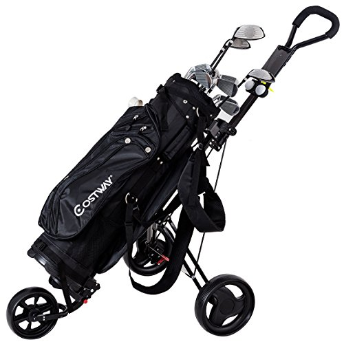 Review Tangkula Foldable Golf Cart Lightweight 3 Wheels Golf Club Push Pull Cart Trolley