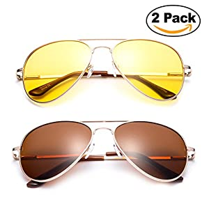 2 Pack - Night Vision Driving Glasses Yellow Amber Lens & Day Time Driving Sunglasses Copper Lens-Classic Aviator Style Glasses with Comfortable Spring Hinge Fit for Most People!