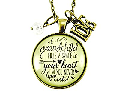 "24"" A Grandchild Fills a Space in Your Heart Grandmother Granddaughter Jewelry Shabby Chic Vintage Style Necklace, 1.20"" Bronze Round Glass Pendant Love Charm"