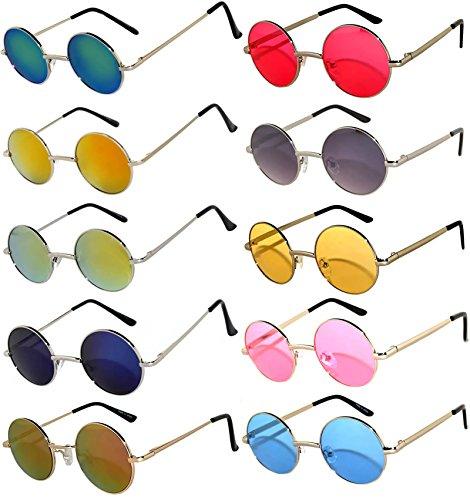 Round Retro Vintage Mirror Lens Gradient Lens Sunglasses Metal Frame 10 Pack Mix – Red Yellow Blue Green Pink Purple Smoke ... (Wholesale Vintage Sunglasses)