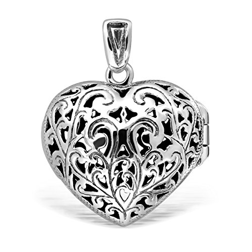 WithLoveSilver Solid Sterling Silver 925 Vintage Style Cut Out Heart Love Locket Pendant