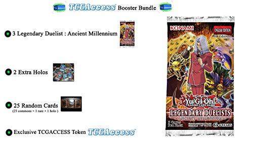 Yugioh LEGENDARY DUELIST: ANCIENT MILLENNIUM BOOSTER BUNDLE - 3 Booster Packs - 25 card lot - 2 Holos - by (Duelist Card)