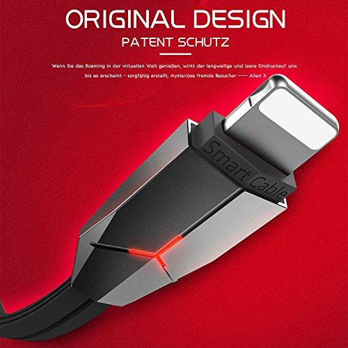 Lightning Kabel, iPhone Kabel, ASMOTIM 1.2 M Zink legiertem Lightning auf USB Ladekabel Ladegerät mit LED für iPhone X /8/ 8P/ 7/7P, iPhone6S/6 ,iPhone 5/5S/5 C/SE, iPad Mini 2 3 4 Air iPod ios10 und mehr(Schwarz)