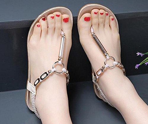 romanas de señoras 3 moda plana sandalias con de Las playa planas zapatos KUKI gZ6aW
