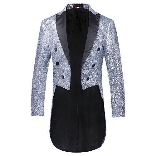 Mens Tails Slim Fit Tailcoat Sequin Dress Coat Swallowtail Dinner Party Wedding Blazer Suit Jacket Silver from Cloudstyle