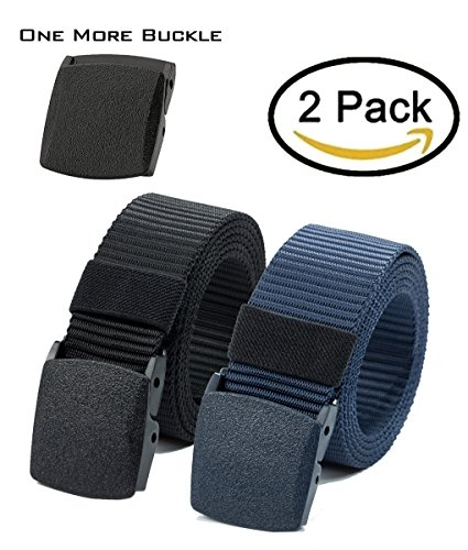 Nylon Canvas Belt Plastic Buckle Belt Hiking Belt Military Tactical Waist Belt 2 Pack by (Canvas Waist Belt)