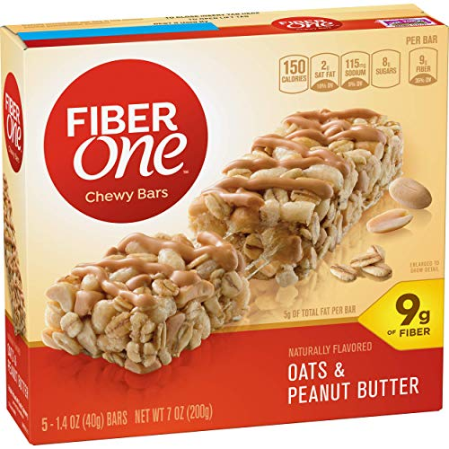 Fiber One Chewy Bar, Oats and Peanut Butter, 1.4 Ounce, 5 Count, Pack of 12