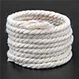 FINCOS Durable 6mmx140m Natural Beige White Macrame Cotton Twisted Cord Rope DIY Home Textile Accessories Craft &c - (Color: Beige)