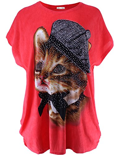 Plus Size Allover Cat Print Tunic Top with Rhinestone Red ONE SIZE Size