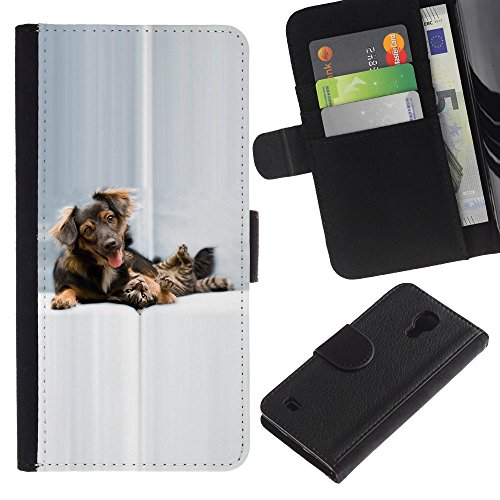 Be Good Phone Accessory // Caso del tirón Billetera de Cuero Titular de la tarjeta Carcasa Funda de Protección para Samsung Galaxy S4 IV I9500 // Dog Cat Puppy Golden Setter