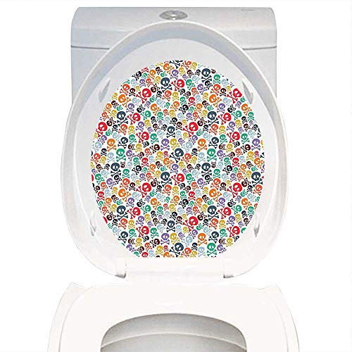 Toilet Sticker Themeative Print Skulls Decorations Halloween Theme Colorful Skulls and Crossbones. Home Decor Applique Papers W13 x L16 ()