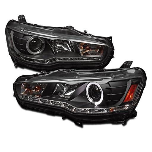 ZMAUTOPARTS Mitsubishi Lancer Evo X Halo DRL LED Projector Headlights Black
